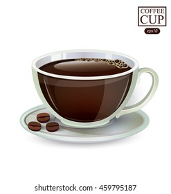 Cup of coffee isolated on white background. Vector illustration.