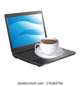 cup of coffee and a laptop. Vector illustration