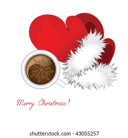 Cup of coffee and mitten Santa against the white background