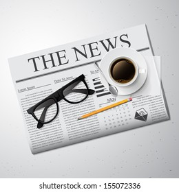 Cup of coffee, newspaper and glasses Detailed vector illustration.