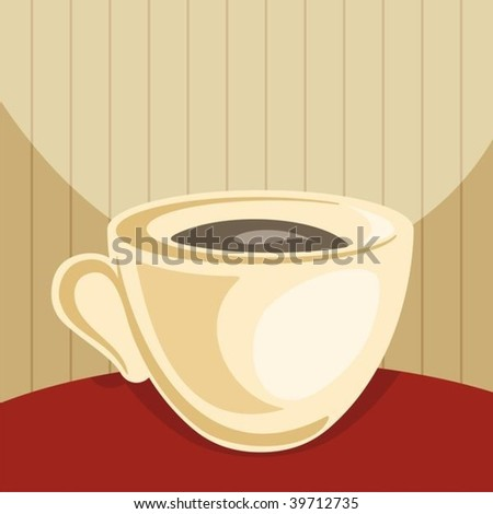 Cup of coffee on dark red table and beige background