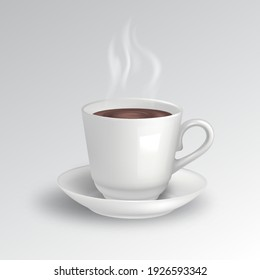 Cup with coffee on a saucer.A steaming hot drink.Мock-up.Ceramic products.Template for design.3D.Vector photorealistic illustration.