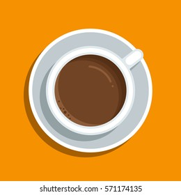 A cup of coffee on a table. Simple vector illustration