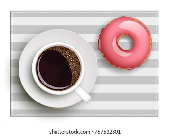 Cup of coffee on warfare dish, donut in glaze. Breakfast image, top view. Morning drink with sweetness. Hot coffee cup on white platter, donut glaze. Light snack top banner. Vector Still life dessert