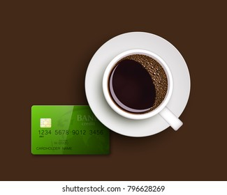 Cup of coffee on warfare dish, bank chip card. Breakfast image, top view. Morning drink coffe and plastic credit card. Hot coffee cup on white platter, debit card top banner. Vector cashless payment