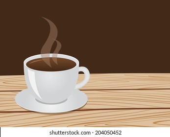 Cup of coffee on a wood table with space for text.