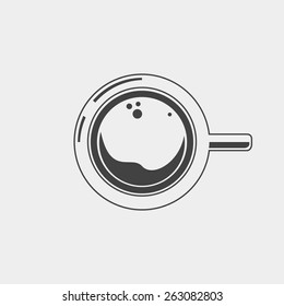 Cup of coffee. Outline on a white background. Top view. Vector illustration.