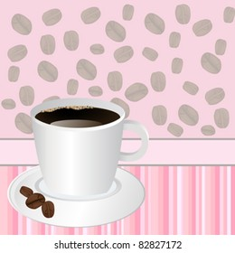 Cup of coffee over pink striped background