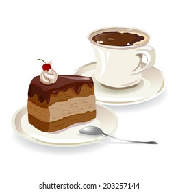 cup of coffee and a piece of cake. vector illustration