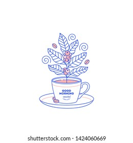 Cup with coffee plant. Flat graphic. Cafe design template. Vector illustration