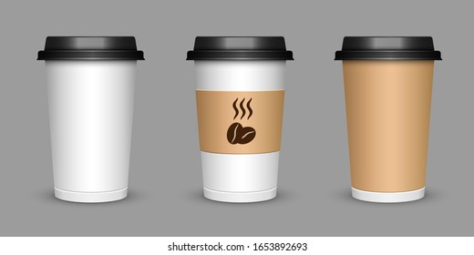 A cup of coffee. Realistic illustration of a cup of cappuccino tea. Mock up 3D cup of coffee. Vector illustration eps10