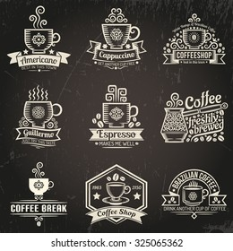 Cup of coffee in retro style. Vintage logo, emblem for coffee-shop. Grunge texture grouped separately and is easily removed.