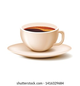Cup Coffee with Saucer on White Background. Natural Coffee. Vector Illustration. Nature Composition. Chocolate Candies. Confectionery Delicious. Often and Saucer. Coffee with Frothy. Black Coffee.