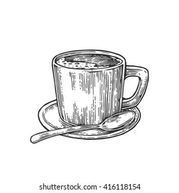 Cup of coffee with saucer, spoon. Hand drawn sketch style. Vintage black vector engraving illustration for label, web, flayer.  Isolated on white background