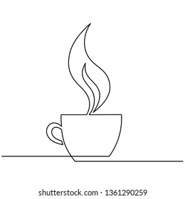 Cup of coffee, steam over Cup is drawn by one line on a white background. Single line drawing. Continuous line. Vector