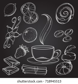 A cup of coffee, sweets and berries white contour drawing on a black board