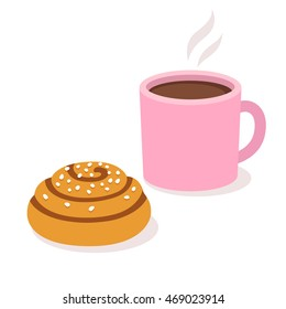 Cup of coffee or tea with cinnamon roll. Isolated vector illustration.