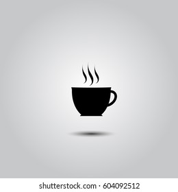 cup of coffee tea hot drink black vector icon on white background icon