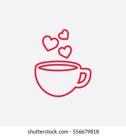 cup of coffee tea hot with hearts steam line icon red on white background