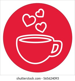 cup of coffee tea hot with hearts steam line icon white on red circle