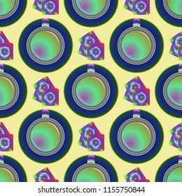 Cup of coffee or tea on background seamless pattern.