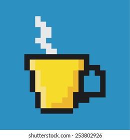 Cup of coffee or tea, pixel art