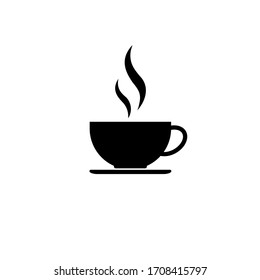 Cup of coffee tea with steam icon in black simple design on an isolated background. EPS 10 vector