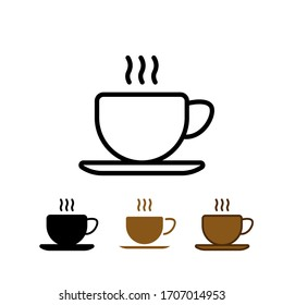 Cup of coffee tea with steam line icon black on white background. Vector illustration. EPS 10.