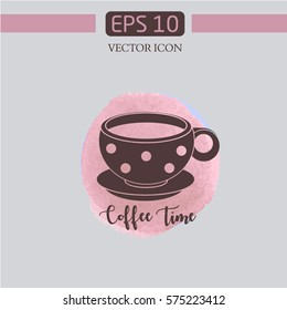 cup coffee. coffee time. design logo.watercolor background