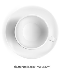 Cup of coffee, top view. Realistic tea cup, white background. Photorealistic vector illustration