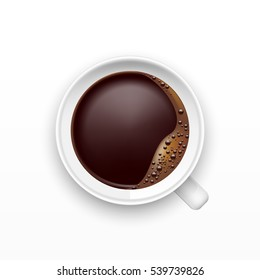 A Cup of Coffee, top view, realistic vector