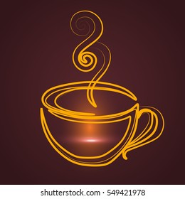 A cup of coffee, vector, gold, aroma