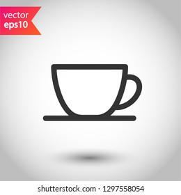 Cup of coffee vector icon. Mug vector icon. Cup of tea vector sign