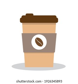 Cup of coffee, vector illustration in brown tones. Flat style print. Coffee logo. Paper coffee cup. Dice-box with hot drink. Cartoon style illustration isolated on white. Coffee to go.