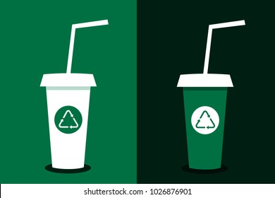 Cup for drink is recyclable and reusable. Recycling and Reusing of item for drinking as ecological and environmental way of consumption of hot drink