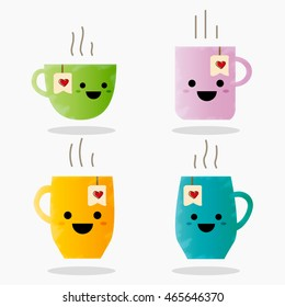 Cup emoji set with cheeks and eyes. Colored beautiful doodle cups character in flat designs with cute cartoon faces. Hot coffee and tea. Vector illustration.