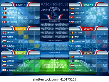 Cup EURO final match schedule. 3D sport Vector Football European Championship Soccer final chart country Infographic. Russia 2018 Europe tournament group stage participating icon team Building Stadium