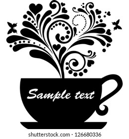Cup with floral design elements isolated on White background. Vector illustration