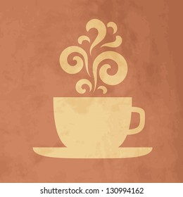 Cup with floral  vintage design elements. EPS10 vector.