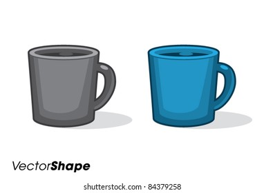 Cup of fresh coffee, cartoon vector illustration