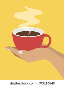 Cup of Fresh Coffee in Hands. Vector Illustration. Flat Style. Decorative Design for Cafeteria, Posters, Banners, Cards