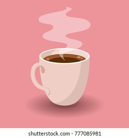 Cup of Fresh Coffee on Pink Background. Vector Illustration. Flat Style. Decorative Design for Cafeteria, Posters, Banners, Cards