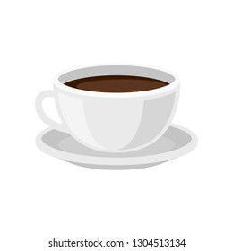 Cup of fresh coffee on saucer. Tasty morning beverage. Hot drink. Flat vector design for cafe menu