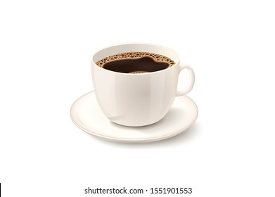 Cup of Fresh Coffee. Vector Illustration. Realistic Style. Decorative Design for Cafeteria, Posters, Banners, Cards