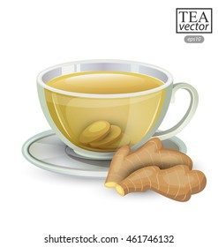 Cup of ginger tea isolated on white background. Vector illustration.