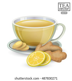 Cup of ginger tea with lemon isolated on white background. Vector illustration.