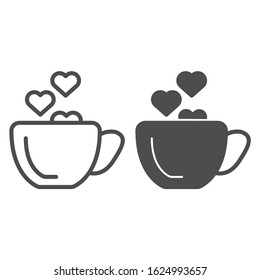Cup with heart line and solid icon. Romantic Coffee cup illustration isolated on white. Hot drink cup with a heart shape steaming outline style design, designed for web and app. Eps 10