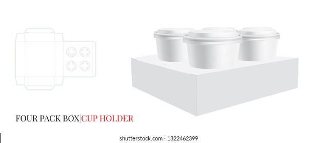 Cup Holder Template, Four Beer Pack. Vector with die cut / laser cut lines. Coffee, Ice Cream Cup Holder. White, clear, blank, isolated Four Pack mock up on white background with perspective view