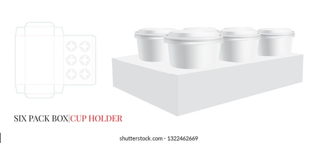 Cup Holder Template, Six Beer Pack. Vector with die cut / laser cut lines. Coffee, Ice Cream Cup Holder. White, clear, blank, isolated Six Pack mock up on white background with perspective view. 3D