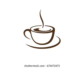 A cup of hot black aroma coffee isolated on white background. Stylized graphic vector logo.